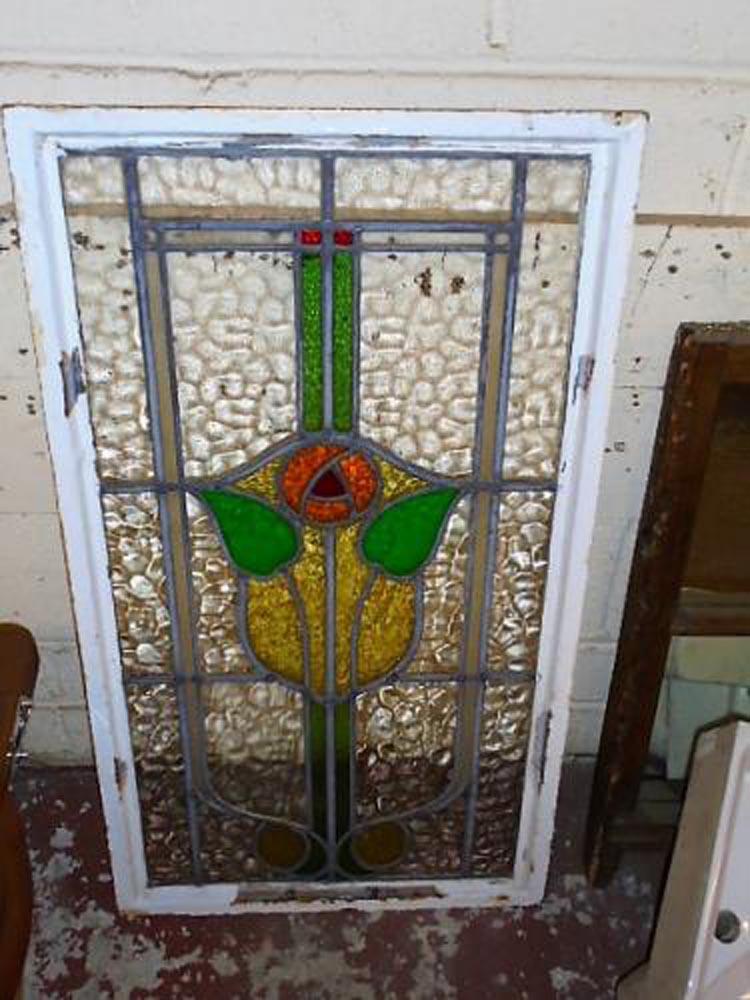 Stain Glass Window in Metal Frame 51 cm x 93 cm