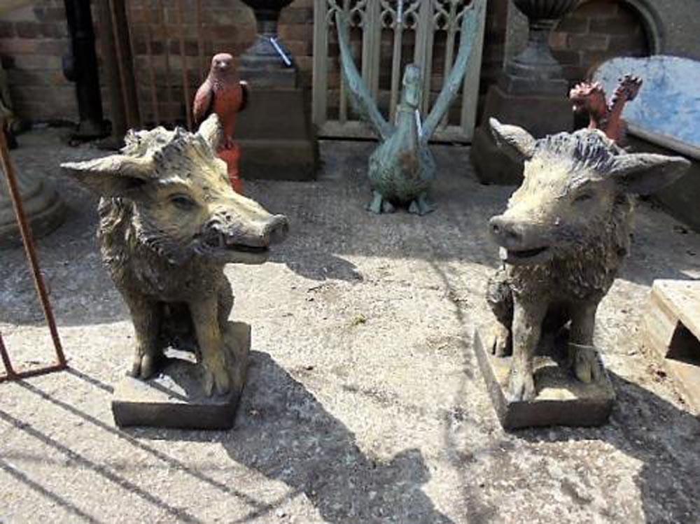 Pair of Boar Statues