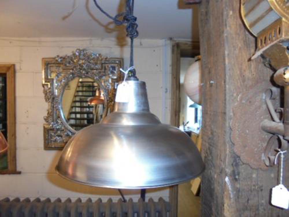 Polished steel pendant light 350 mm wide