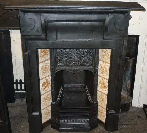 "Original tiled Combination fireplace<br>One of a pair<br>47"" High x 38"" Wide"