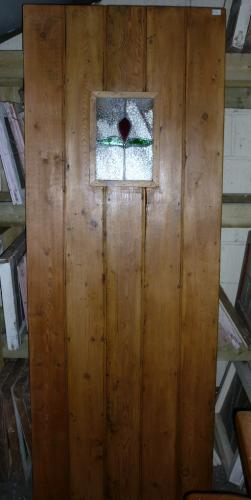 Plank Door made from reclaimed Pine with Stain Glass window<br>Can be made to size<br>