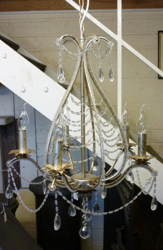 Silver 5 arm Chandelier<br>50cm wide