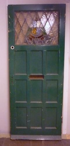 Green stain glass door <br>31. 3/4