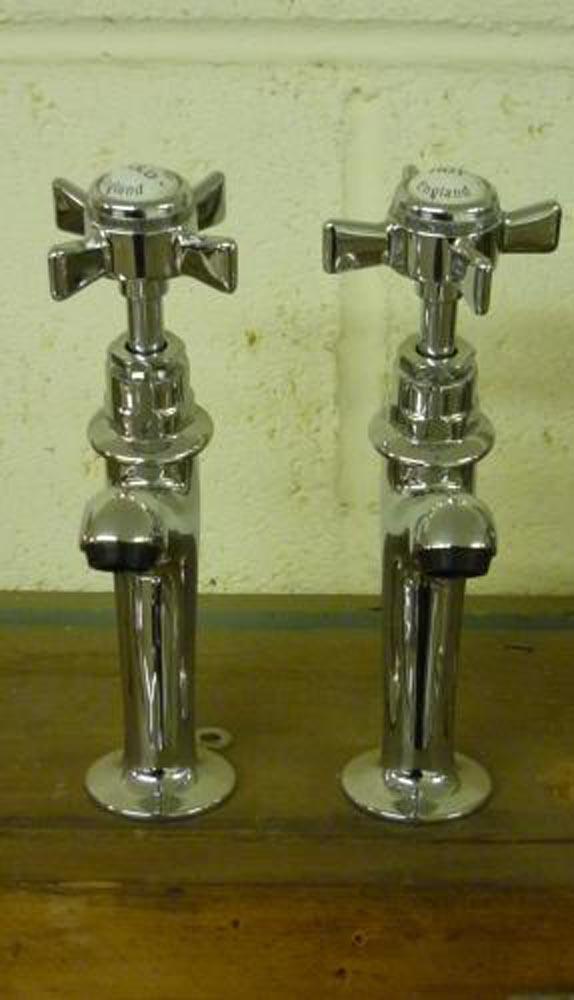 Chrome sink pillar taps