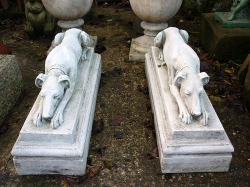 Pair Lying Whippets on Plinths